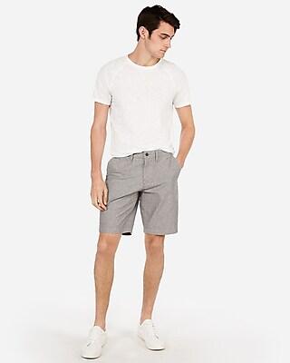 Express Mens Classic 10 Inch Oxford Flat Front Shorts Gray Men's 38 Gray 38