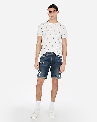 Express Mens Slim 9 Inch Medium Wash Distressed Stretch Denim Shorts