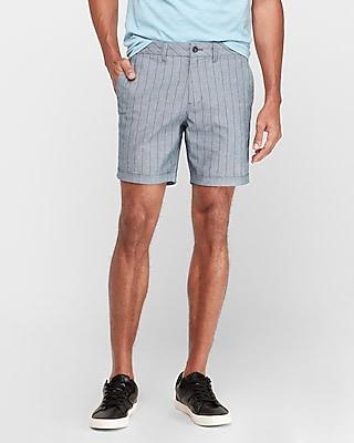Express 8 Inch Striped Chambray Shorts