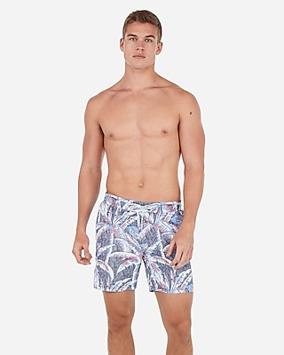 Express Mens Palm Print Drawstring Swim Trunks Red Men's S Red S