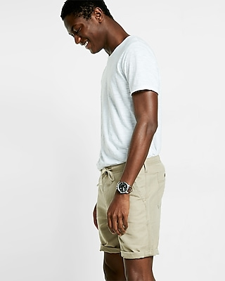Express Mens Classic Fit 10 Inch Roll Cuff Linen-Cotton Drawstring Shorts Neutral 34