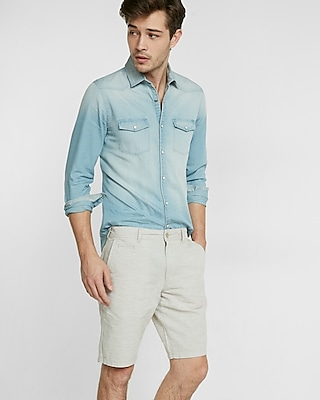 Express Mens Classic Fit 10 Inch Linen-Cotton Flat Front Shorts Neutral 34