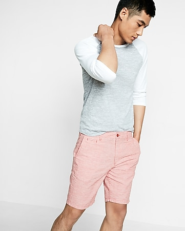 classic fit 10 inch linen-cotton flat front shorts