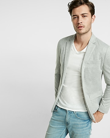 heathered knit blazer