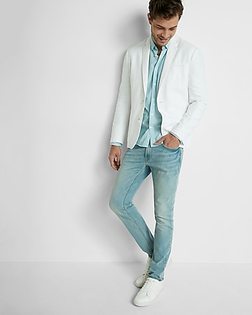 white linen-cotton twill blazer