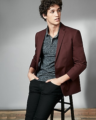 Express Mens Burgundy Twill Blazer