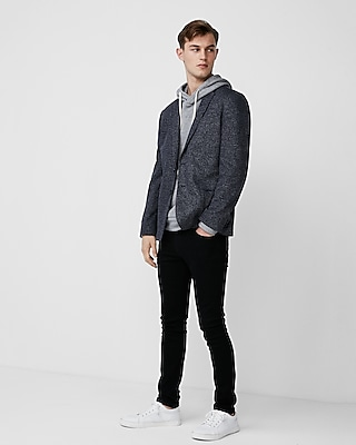 Express Mens Slim Navy Knit Blazer