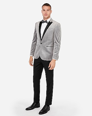 Express Mens Slim Light Gray Velvet Tuxedo Jacket