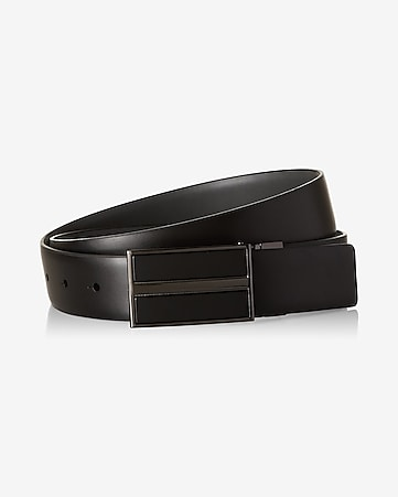 2-IN-1 reversible matte stripe plaque belt
