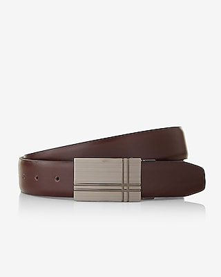 Express Mens Double Crisscross Plaque Reversible Belt
