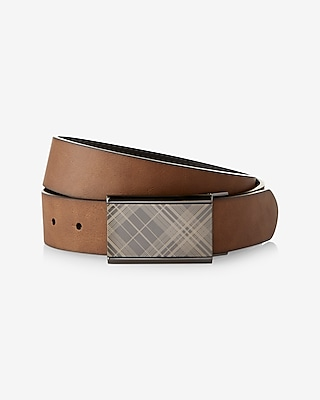 Express Mens 2-In-1 Plaid Plaque Leather Belt