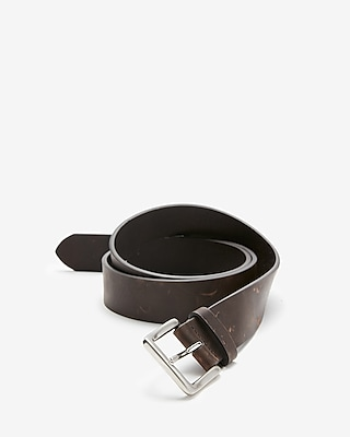 Express Mens Dark Brown Leather Single Prong Buckle Belt