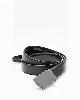 Express Mens Gun Metal Plaque Tuxedo Leather Belt