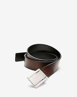 Express Mens Reversible Brushed Plaque Belt