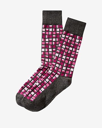 geo square print dress socks