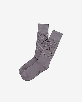 Express Mens Diamond Print Dress Socks Gray