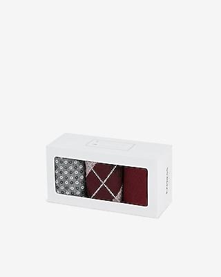 Express Mens 3 Pack Burgundy Argyle Socks Gift Set