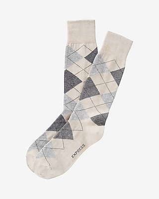 Express Mens Champagne Argyle Dress Socks