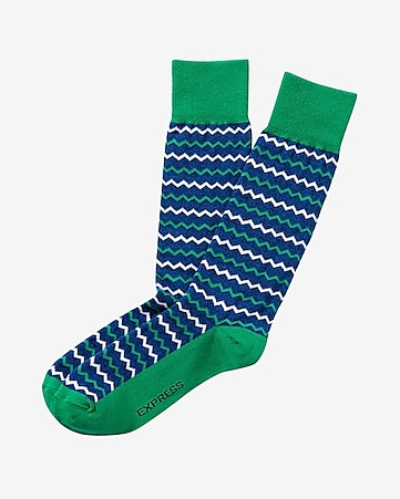 zigzag print dress socks
