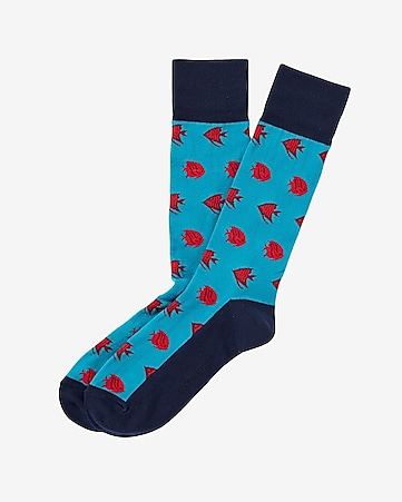 fish print dress socks
