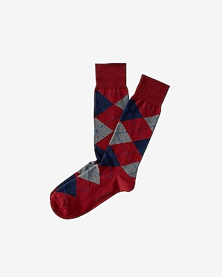 Express Mens Argyle Dress Socks Red