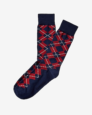 Express Mens Striped Argyle Print Dress Socks