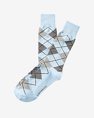 Express Mens Marled Argyle Print Dress Socks Blue