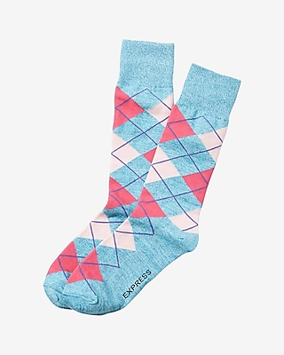 Express Mens Marled Argyle Print Dress Socks