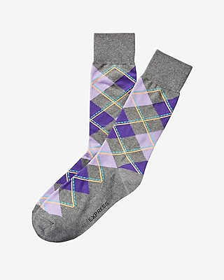 Express Mens Argyle Print Dress Socks Purple