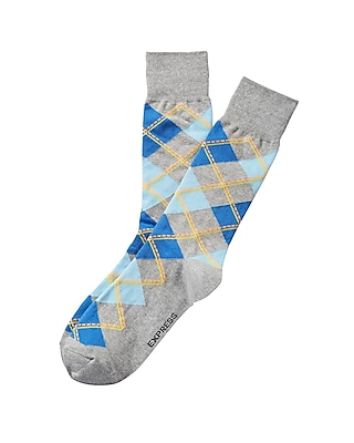 Express Mens Argyle Print Dress Socks Blue