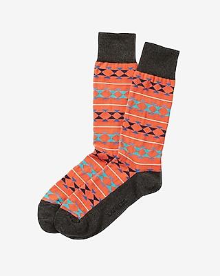 Express Mens Bright Geometric Print Dress Socks