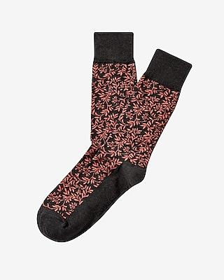 Express Mens Floral Print Dress Socks Orange