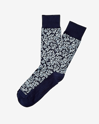 Express Mens Floral Print Dress Socks Blue