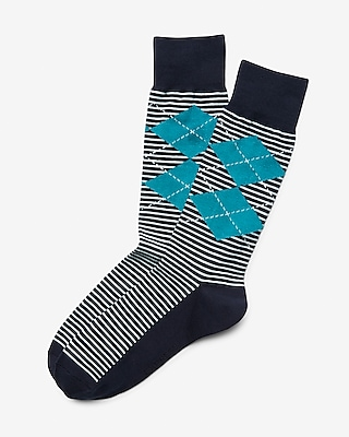 Express Mens Argyle Stripe Dress Socks Blue