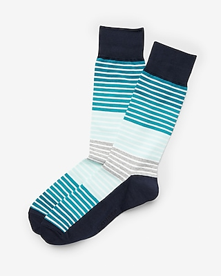 Express Mens Bright Striped Dress Socks Blue