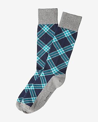 Express Mens Plaid Dress Socks Blue