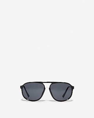 Express Mens Shiny Aviator Sunglasses Black Men's  Black