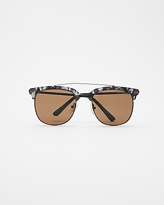 Express Mens Camo Rim Browbar Sunglasses