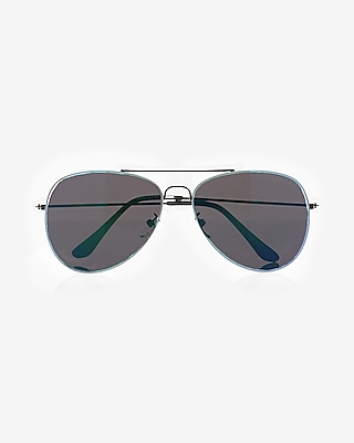 Express Mens Aqua Lens Aviator Sunglasses