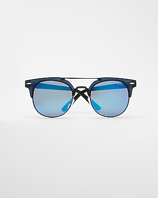 Express Mens Blue Tinted Browline Sunglasses