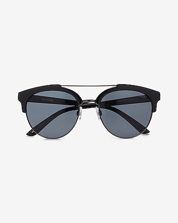 black round browbar sunglasses