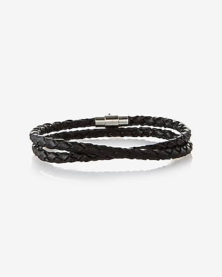 Express Mens Braided Leather Wrap Bracelet