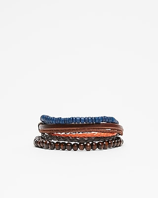 Express Mens Leather And Bead Stretch Bracelet