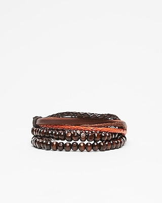 Express Mens Bead And Leather Stretch Bracelet
