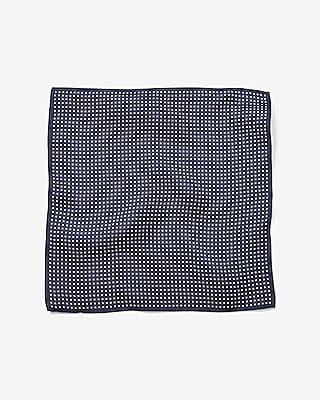 Express Mens Bold Border Dot Silk Pocket Square Blue