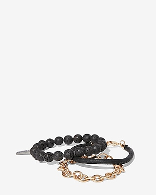 Express Mens Set Of Three Bead Leather Chain Bracelets