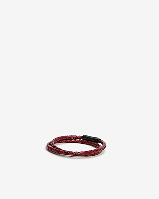 Express Mens Braided Leather Thick Wrap Bracelet