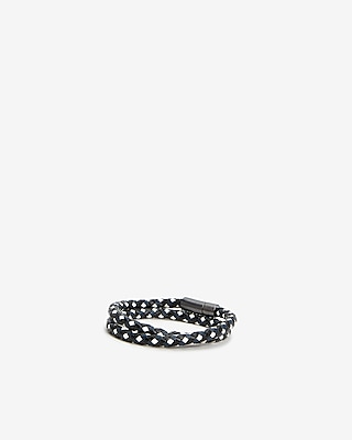 Express Mens Black And White Braided Leather Wrap Bracelet