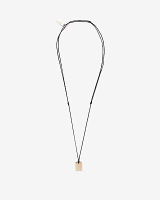 Express Mens Square Pendant String Necklace