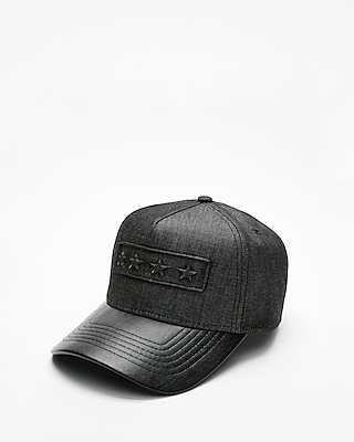 Express Mens Star Logo (Minus The) Leather Baseball Hat
